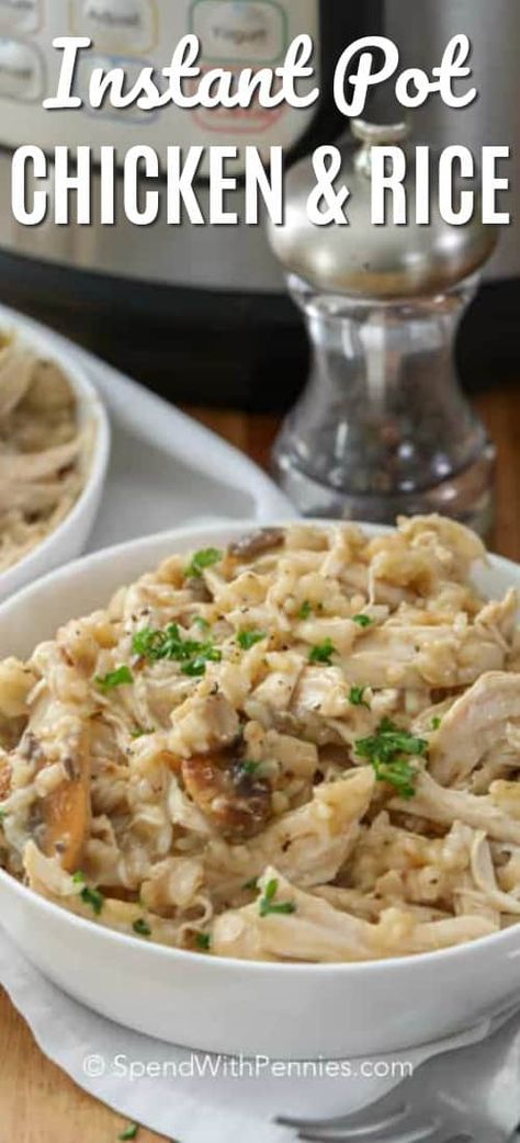 Instant Pot Chicken and Rice is incredibly delicious and ready in ... well, an instant! Tender shredded chicken and rice in a creamy mushroom sauce is the ultimate one pot comfort food! #spendwithpennies #instantpot #easyrecipe #quickrecipe #chickenandrice #chickenrecipe #weeknightrecipe #casserole #chickencasserole