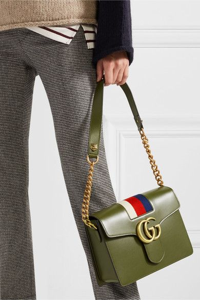 937b3590 GUCCI GG Marmont stylish striped canvas-trimmed green leather ...