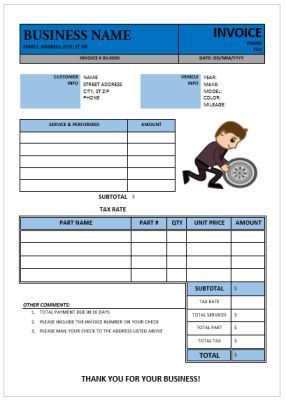 Best Garage Invoice Template Images On