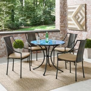 Hampton Bay 28 In Coastal Glass Mosaic Outdoor Patio Bistro Table Hd19153 The Home Depot In 2020 Bistro Table Outdoor Outdoor Dining Set Bistro Table