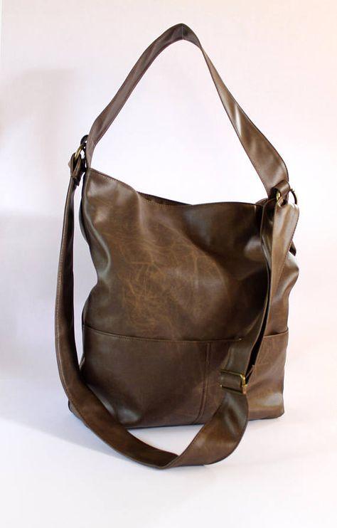 383b922cb8e9 Women Vegan Bags, Brown Crossbody Bag, Boho Vegan Bag, Casual Shoulder Bag,  Brown Faux Leather Bags,