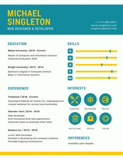 Canva Teal And Yellow Web Designer Infographic Resume Templates By Canva 3010c8fe Resumesam Infographic Resume Template Infographic Resume Web Designer Resume