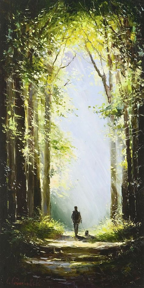 A Walk in the Woods by Gleb Goloubetski,  Oil on Canvas, 110cmx55cm THIS PAINTING IS SOLD