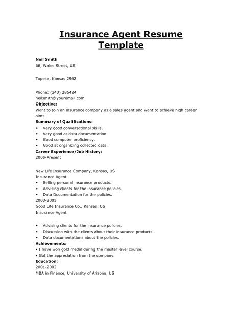 Insurance Agent Resume Template Auto Sample And Get Ideas Create