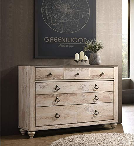 New Contemporary White Wash Finish 7 Drawer Dresser Brown Wood Distressed Includes Hardware Online Shopping Newclothingtrendy In 2020 White Wash Finish White Wash Wood Bedroom Furniture