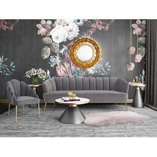 Canora Grey Brockway 4 Piece Living Room Set Living Room Sets Grey Velvet Sofa Blue Living Room Sets