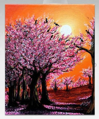 Pink Cherry Blossom Original Painting For Wall Decor Art Etsy In 2021 Cherry Blossom Painting Spring Painting Tree Painting