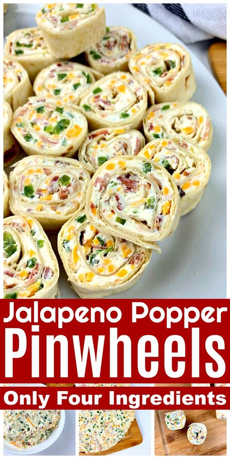 This quick and easy Jalapeno Popper Pinwheels recipe has only four ingredients, and is perfect for entertaining or a light lunch or snack! Jalapeno Poppers, Pinwheel Recipes, Easy Pinwheel Appetizers, Easy Summer Appetizers, Healthy Pinwheels, Pinwheels Food, Tortilla Pinwheels, Beach Meals, Snacks For Beach