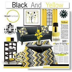 Yellow Living Rooms, Living Room Decorating Ideas, Yellow Black