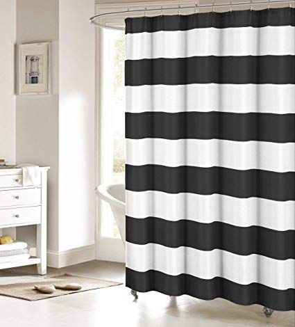 Fabric Shower Curtain Nautical Stripe Design Black And White