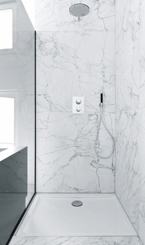 Like The Idea Of The Very Large Marble Tiles Less Grouting Plus The Preformed Shower Tray Is A Practical Soluti In 2020 Shower Remodel Tile Walk In Shower Wet Rooms