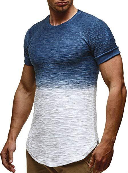 LEIF NELSON Herren Sommer T Shirt Rundhals Ausschnitt Slim