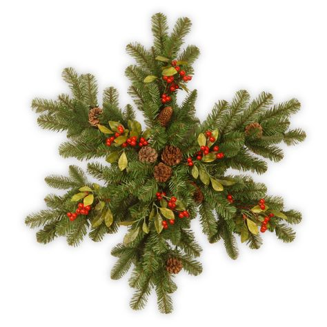 Features:  -Pre-strung with 35 UL listed warm white LED lights.  -Trimmed with red berries, green leaves and pine cones.  -Battery operated with 6 hours on/18 hours off timer.  -120 Branch tips.  -Ind