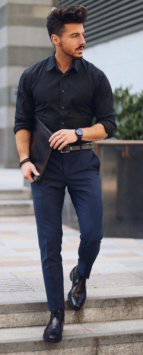 b72711924e5 Pin by Menz Fashion on Men's fashion 2019 | Mens fashion:__cat__, Black  shirt outfit men, Mens fashion blog