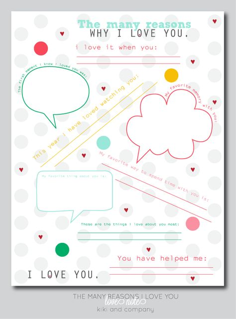 The many reasons why I love you LOVE NOTE {Free Printable} PERFECT for Valentine's Day for your significant other AND your kids!