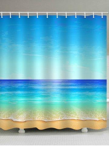 Sea Beach Sky Printed Waterproof Shower Curtain Fabric Shower