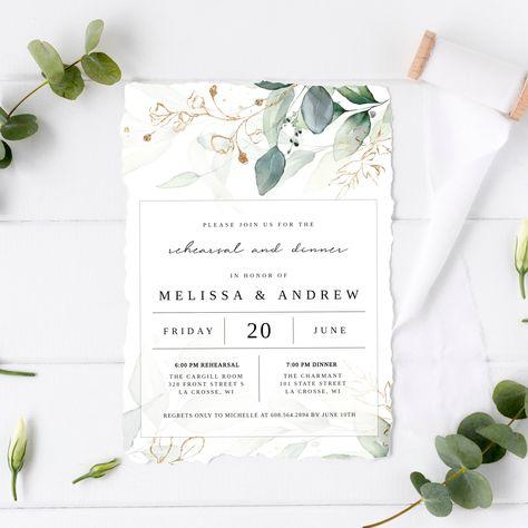 NEW TO THE ETSY SHOP - REHEARSAL DINNER INVITES!! Wedding Rehearsal Dinner Invitation Printable Template | Eucalyptus Invite, Bohemian Invitation https://etsy.me/2VRNELN #weddings #invitation #green #wedding #gold #bohohippie #invitationprintable