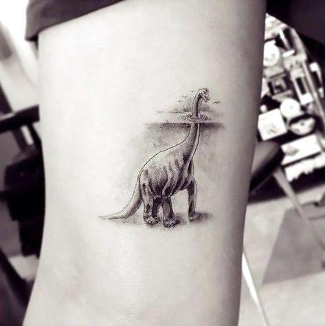 Awesome Dotwork Dinosaur Tattoo Idea #dinosaurtattoos Awesome Dotwork Dinosaur Tattoo Idea