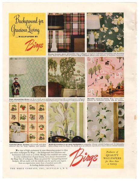 Vintage 1940s Birge Wallpaper Magazine Print Ad 1949 Interior