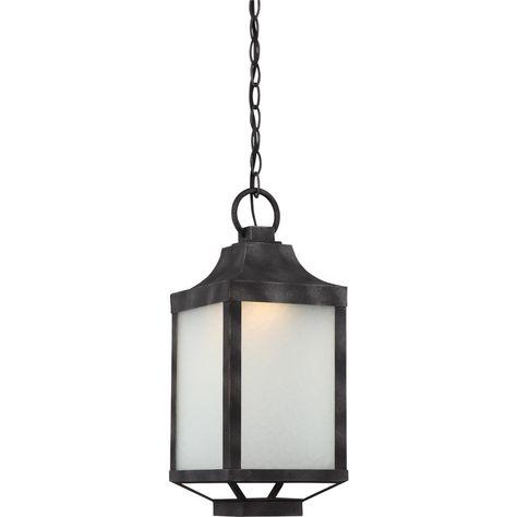 Iron Black 1 Light Outdoor Hanging Lantern Cli Sc328343 The Home Depot Outdoor Hanging Lights Outdoor Hanging Lanterns Outdoor Pendant Lighting