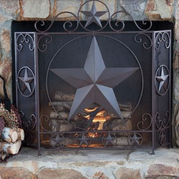 Western Star Fireplace Screen With Images Fireplace Screens