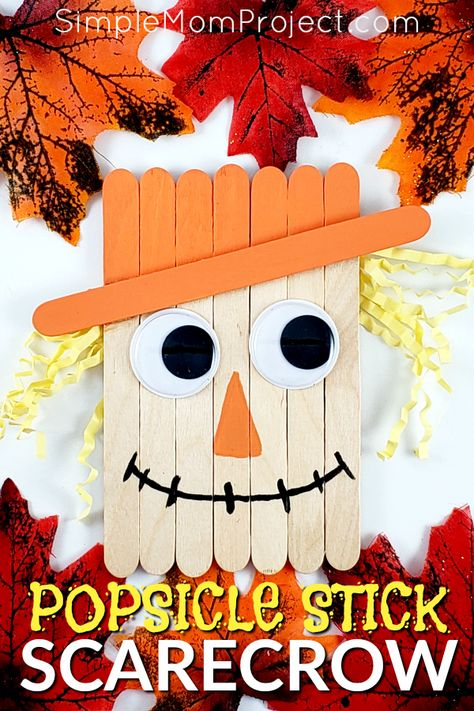 Looking for a fun, DiY Fall or Halloween party decoration for kids to make? Click now for a cheap, popsicle stick Scarecrow craft tutorial. Do them with your preschoolers in the classroom or at home with your toddlers. This Halloween and Fall Scarecrow is Halloween Arts And Crafts, Halloween Party Decor, Holiday Crafts, Fall Arts And Crafts, Cheap Fall Crafts For Kids, Halloween Crafts For Kids To Make, Easy Thanksgiving Crafts, Homemade Halloween Decorations, Easy Fall Crafts