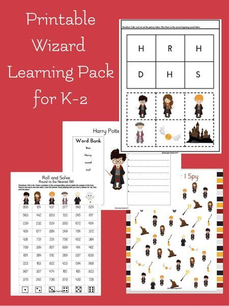 Printable Wizard Themed Learning Pack For Early Elementary Harry Potter Activities Harry Potter Unit Study Inspired Learning