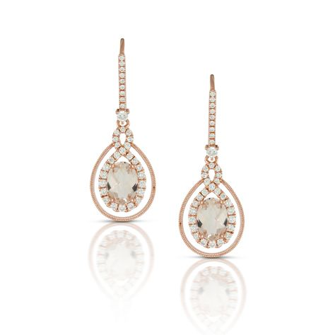 Beautifully delicate and intricate morganite and diamond dangles.  Perfect to dress up a summer dress, or the perfect piece to complete your bridal look.