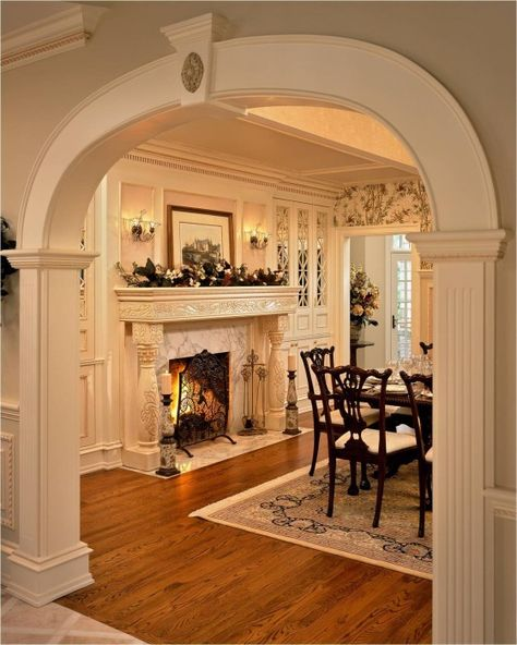Traditional Dining Rooms > Need Interior Design Advice -- Very kind of your presence to drop by to view our image. Thanks a lot. Elegant Dining Room, Dining Room Design, Küchen Design, House Design, Interior Design, Room Interior, Dining Room Fireplace, Dining Rooms With Fireplaces, Traditional Dining Rooms