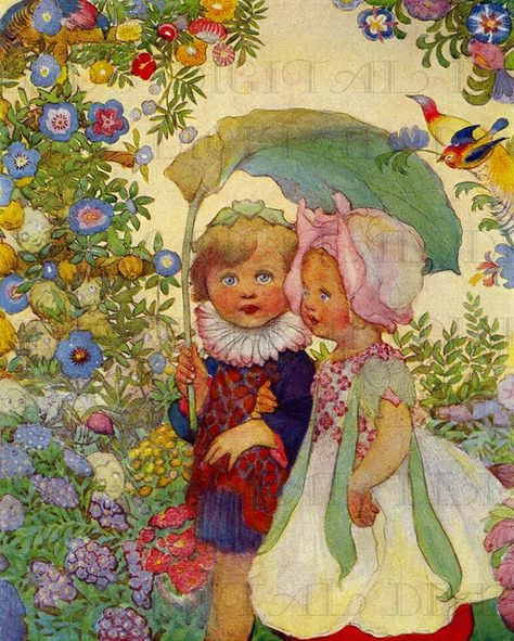 RARE. Stunning GARDEN Children. Digital Vintage ILLUSTRATION. Vintage Garden Storybook Digital Download. Perfect For Greeting Cards, Tags