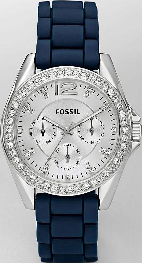 New Fossil Womens Stella Boyfriend Blue Silicone Glitz Chronograph Watch