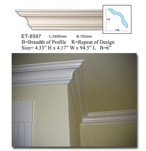 Crown Molding Plastic Crown Moulding Manufactured with a Dense Architectural Polyurethane Compound CM-1027-6 Moldings.