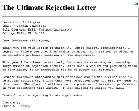 The ultimate rejection rejection letter Recruitment matters - rejection letter