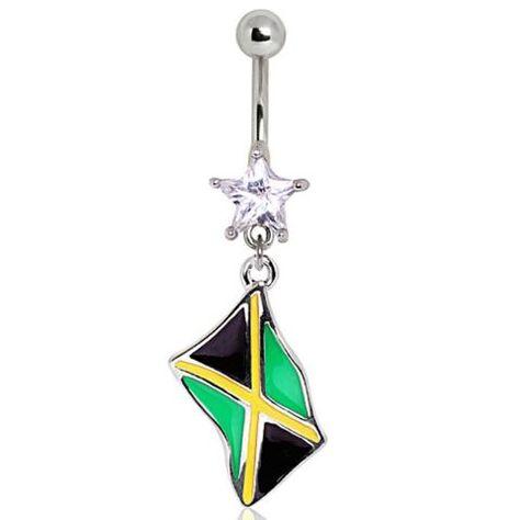 Jamaica Jamaican Flag Surgical Steel Earrings
