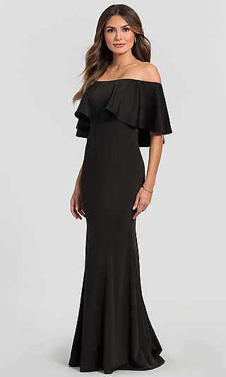 Off The Shoulder Kleinfeld Long Bridesmaid Dress Black Bridesmaid Dresses Bridesmaid Dresses Macy Dresses