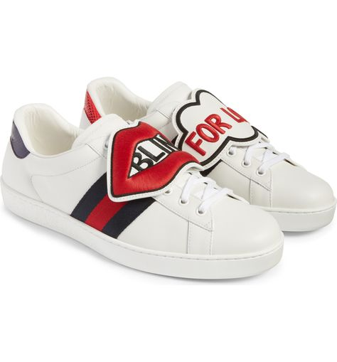 Main Image - Gucci New Ace Embroidered Patch Sneaker (Men)  565056d980d