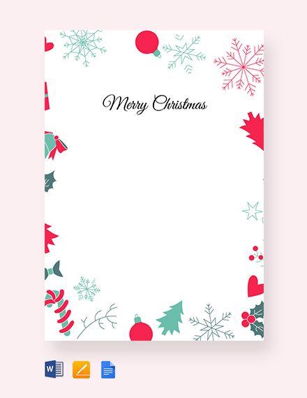 Christmas Border Letter Template Word Apple Pages Google Docs Christmas Letter Template Christmas Card Template Christmas Invitations Template