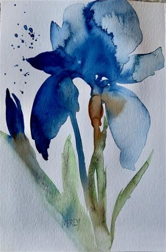 Daily Paintworks Blue Iris Floral 0266 Original Fine Art For Sale C Michelina Frey Watercolor Flowers Paintings Art Painting Art