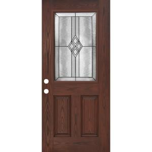Steves Sons 36 In X 80 In Quattro Hickory Oak Grain 1 2 Lite Decorative Glass Right Hand Fiberglass Front Door Slab 3680 Fgpdla Rose Rh The Home Depot In 2020 Fiberglass Front Door Glass