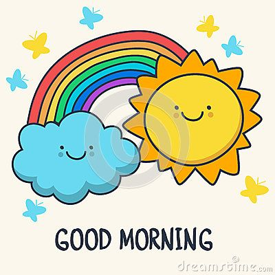 Funny Sketching Smiling Sun Cloud And Rainbow Vector Cartoon I Stock Vector Illu Funny Good Morning Greetings Cute Good Morning Quotes Morning Quotes Funny