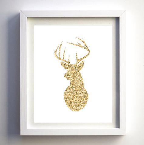 Gold Glitter Deer Print Head