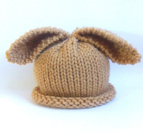 74e85110d2b Newborn knitted baby hat bunny rabbit - tan toffee brown - vegan - hand  knitted - photo prop on Etsy