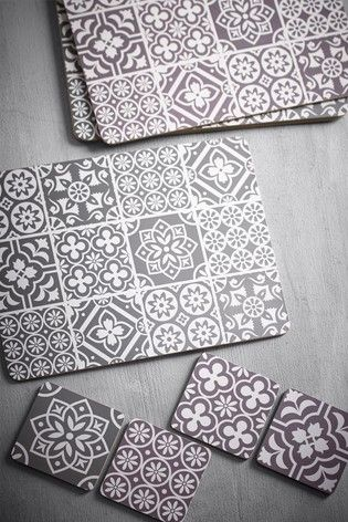 4 Tile Print Placemats And Coasters Set In 2021 Tile Print Coaster Set Placemats