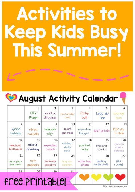 June Activity Calendar  Activities June And Summer