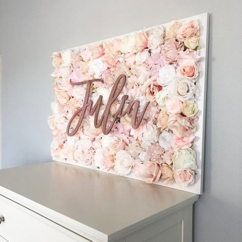 This is beautiful framed faux floral wall hanging with wooden name is perfect for nursery decor, kids room decor or wedding decor. It comes with a This example shows a 26 x 38 size and would be beautiful with blush, shabby chic or boho decor, and we also offer a smaller 18 x 26 size. COLORS: You