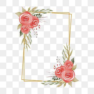 إطارات الزفاف مع زخارف نباتية بألوان مائية وحدود ذهبية خلفية نمط زهرة Png والمتجهات للتحميل مجانا Rose Decor Wedding Frames Watercolor Rose