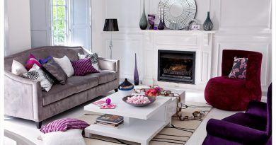 غرف جلوس عصرية حديثة تصاميم غرف معيشة مودرن قصر الديكور Purple Living Room Grey Couch Living Room Interior Design Living Room