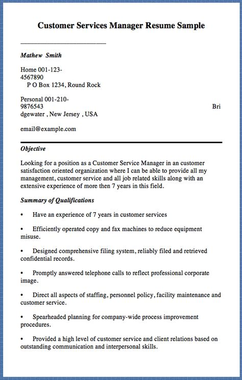 Customer Services Manager Resume Sample Mathew Smith Home 001-123 - service manager resume