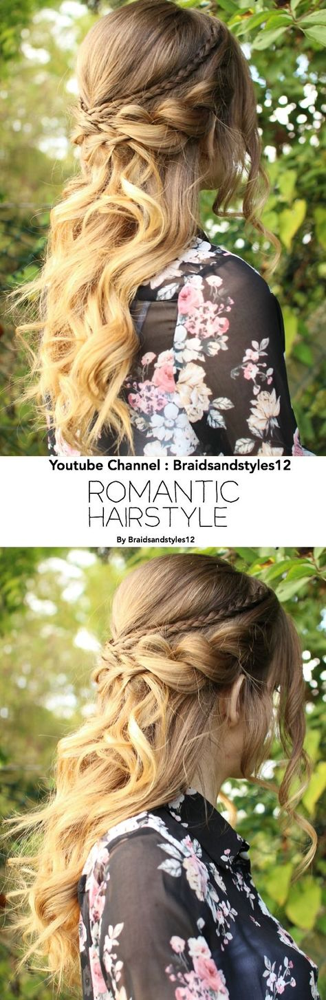 Beautiful, romantic half up half down hairstyle with Curls by Braidsandstyles12 . Youtube : www.youtube.com/...