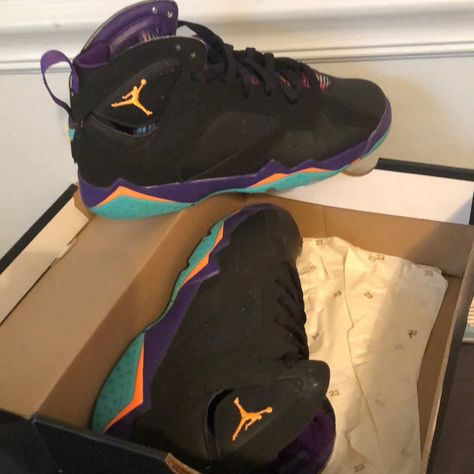 Air Jordan Retro 7 black blue | Air jordans, Air jordans